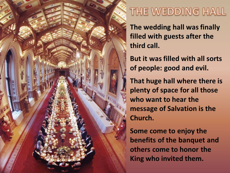 The wedding hall was finally filled with guests after the third call.