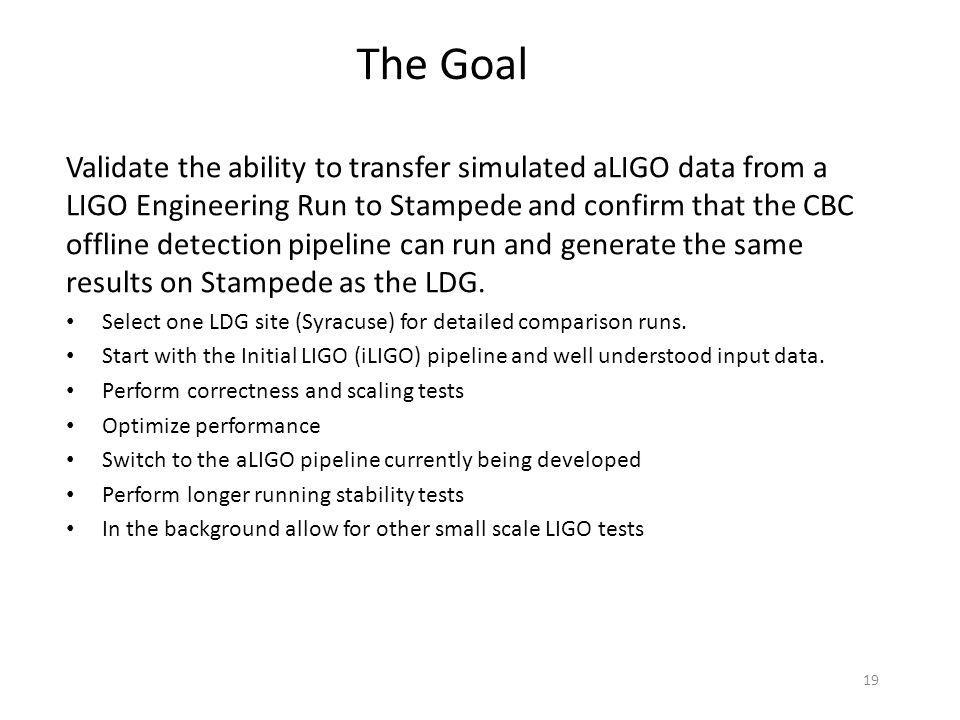 19 Validate the ability to transfer simulated aLIGO data from a LIGO Engineering Run to Stampede and confirm that the CBC offline detection pipeline c