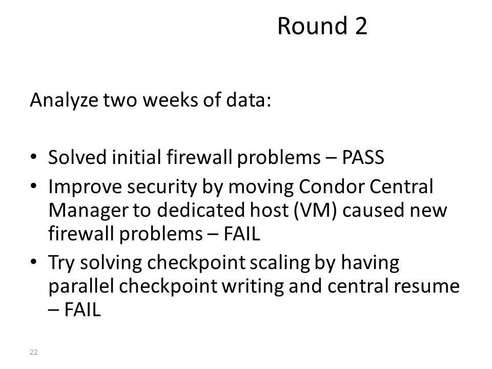 Analyze two weeks of data: Solved initial firewall problems – PASS Improve security by moving Condor Central Manager to dedicated host (VM) caused new