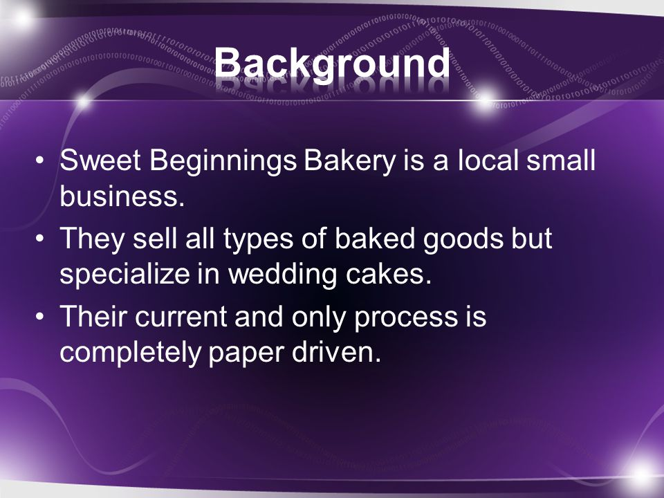 Sweet Beginnings Bakery is a local small business.