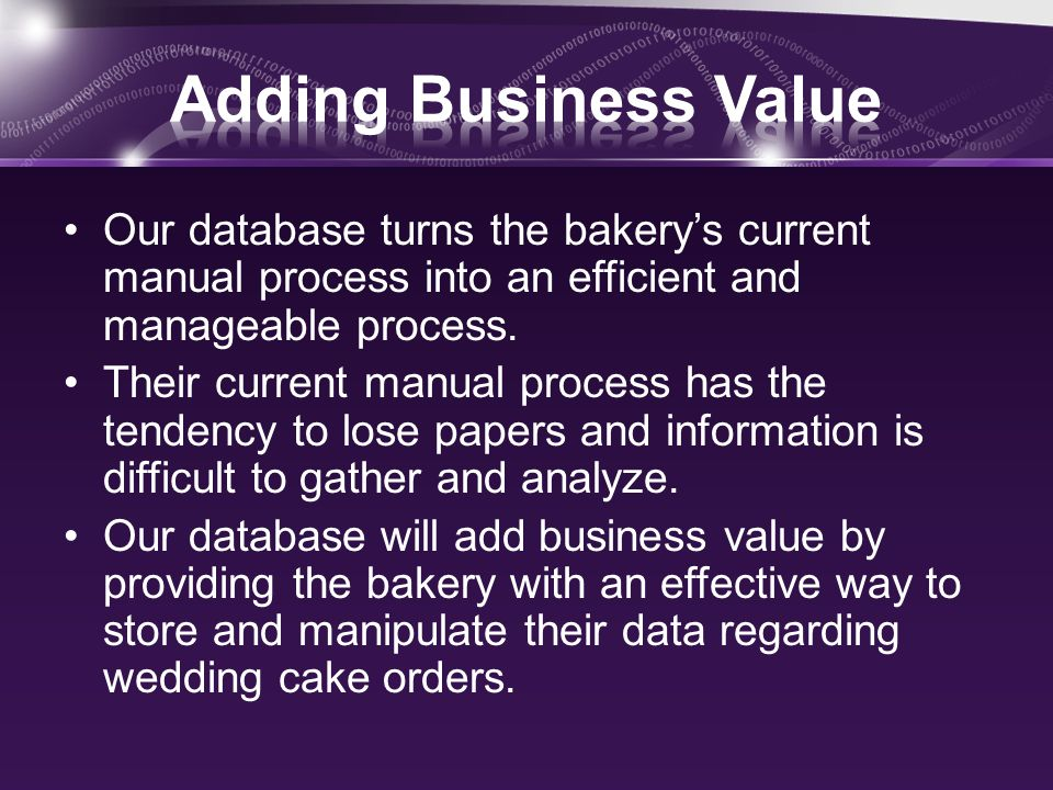Our database turns the bakerys current manual process into an efficient and manageable process. Their current manual process has the tendency to lose
