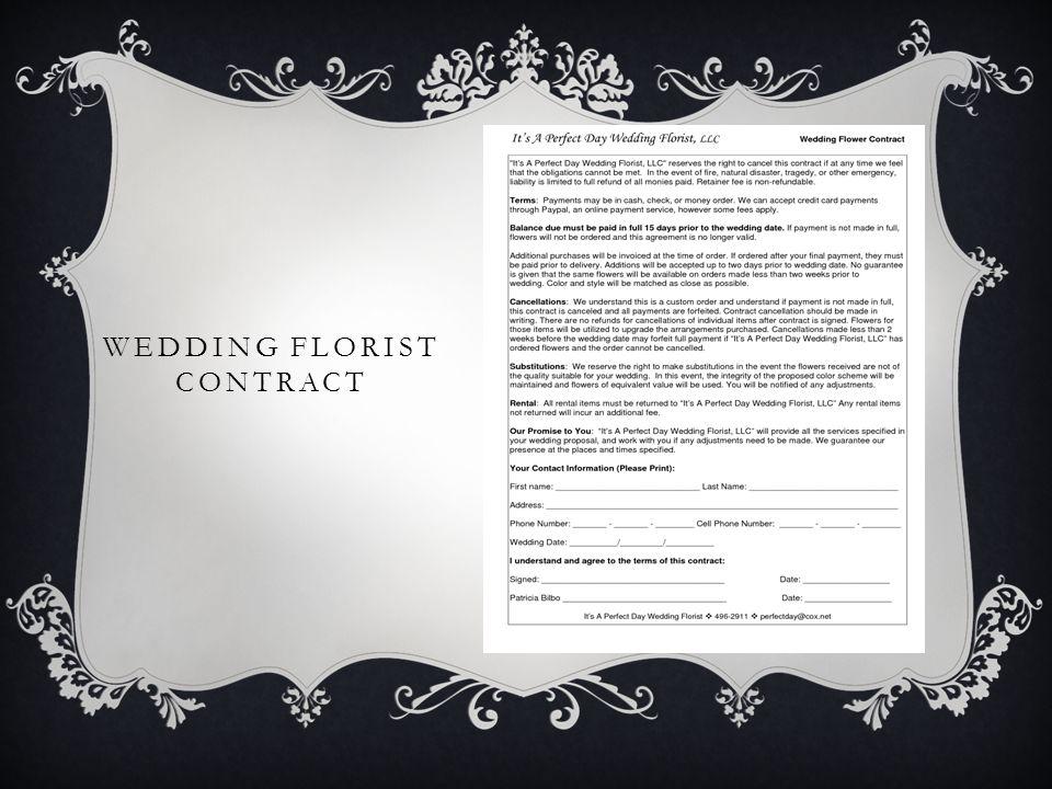 WEDDING FLORIST CONTRACT