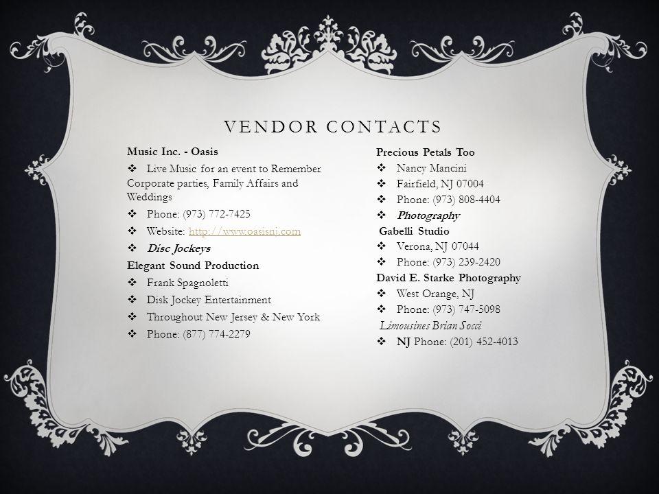 VENDOR CONTACTS Music Inc.