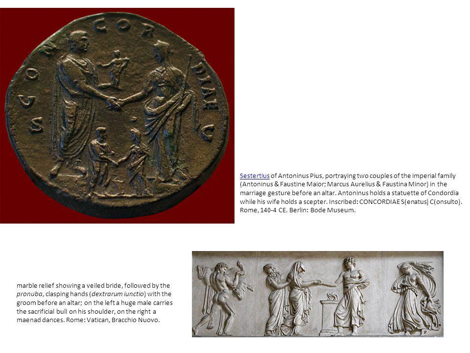 SestertiusSestertius of Antoninus Pius, portraying two couples of the imperial family (Antoninus & Faustine Maior; Marcus Aurelius & Faustina Minor) i