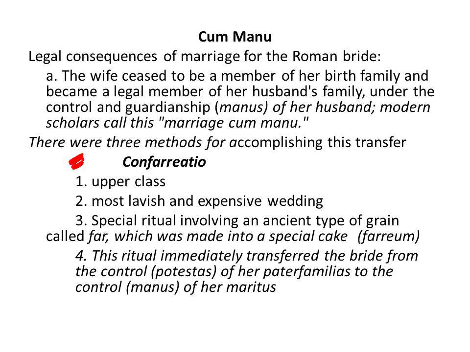 Cum Manu Legal consequences of marriage for the Roman bride: a. The wife ceased to be a member of her birth family and became a legal member of her hu