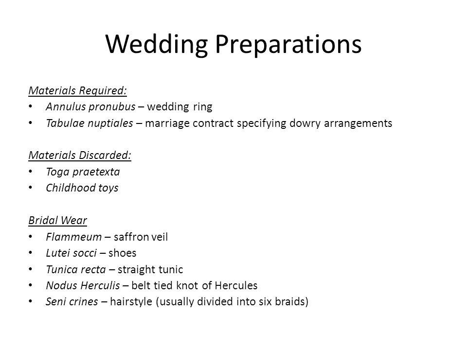 Wedding Preparations Materials Required: Annulus pronubus – wedding ring Tabulae nuptiales – marriage contract specifying dowry arrangements Materials