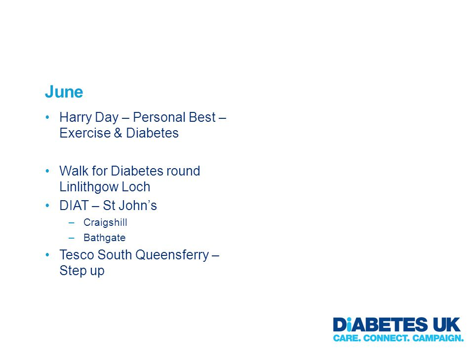June Harry Day – Personal Best – Exercise & Diabetes Walk for Diabetes round Linlithgow Loch DIAT – St Johns –Craigshill –Bathgate Tesco South Queensferry – Step up