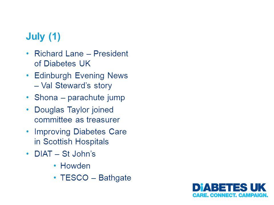 July (1) Richard Lane – President of Diabetes UK Edinburgh Evening News – Val Stewards story Shona – parachute jump Douglas Taylor joined committee as