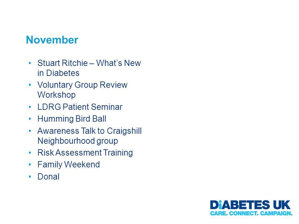 November Stuart Ritchie – Whats New in Diabetes Voluntary Group Review Workshop LDRG Patient Seminar Humming Bird Ball Awareness Talk to Craigshill Ne