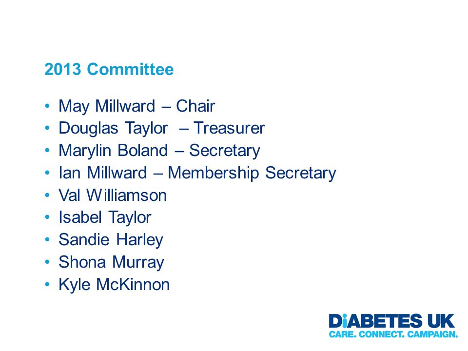 2013 Committee May Millward – Chair Douglas Taylor – Treasurer Marylin Boland – Secretary Ian Millward – Membership Secretary Val Williamson Isabel Taylor Sandie Harley Shona Murray Kyle McKinnon