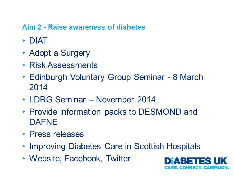 Aim 2 - Raise awareness of diabetes DIAT Adopt a Surgery Risk Assessments Edinburgh Voluntary Group Seminar - 8 March 2014 LDRG Seminar – November 201