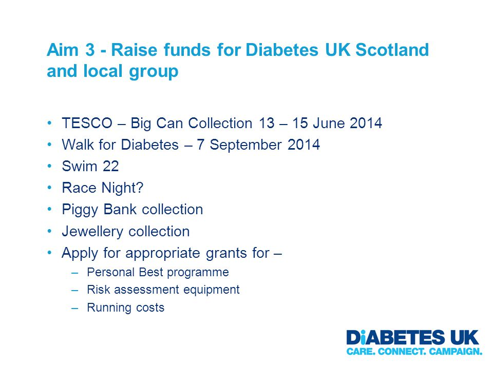 Aim 3 - Raise funds for Diabetes UK Scotland and local group TESCO – Big Can Collection 13 – 15 June 2014 Walk for Diabetes – 7 September 2014 Swim 22 Race Night.