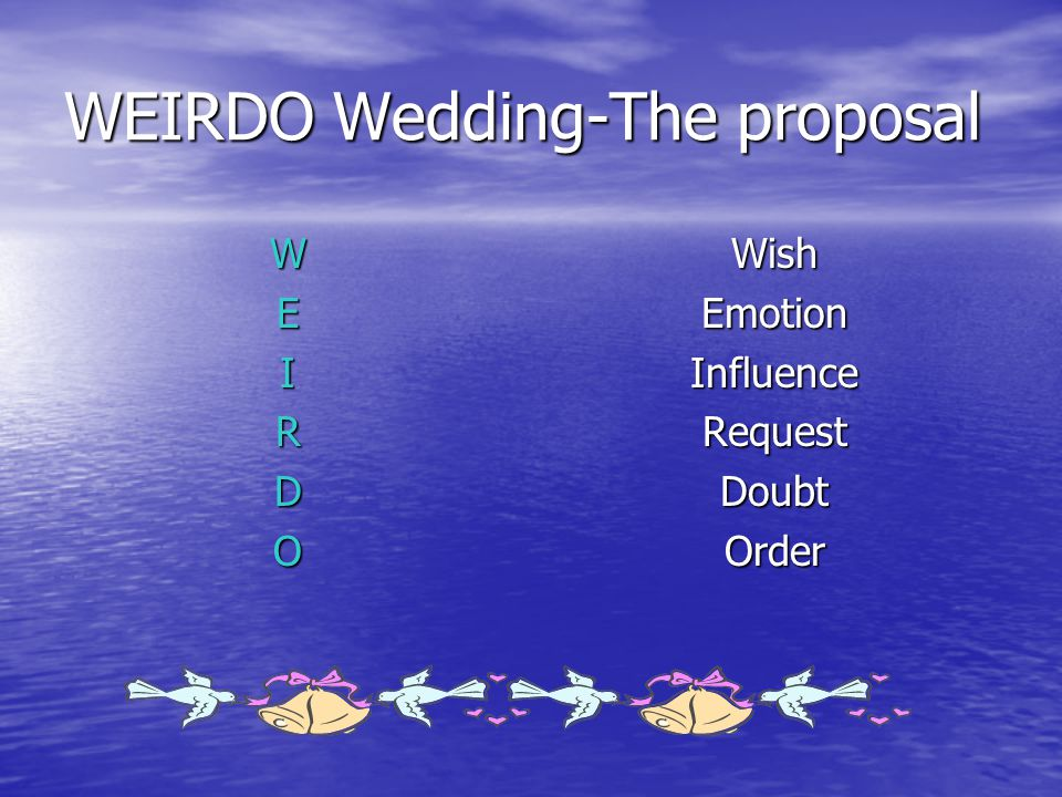 WEIRDO Wedding-The proposal WEIRDOWishEmotionInfluenceRequestDoubtOrder