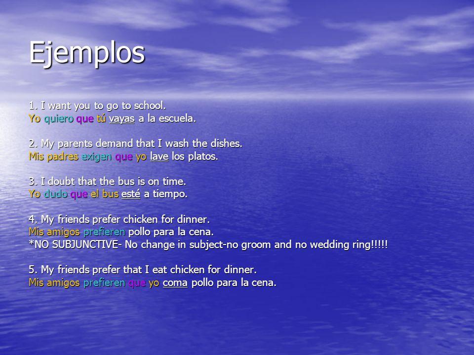 Ejemplos 1. I want you to go to school. Yo quiero que tú vayas a la escuela.
