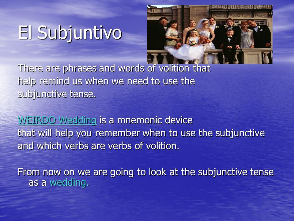 WEIRDO WEDDING- When to use the Subjunctive Tense In order to use the subjunctive tense we must have a WEIRDO Wedding.