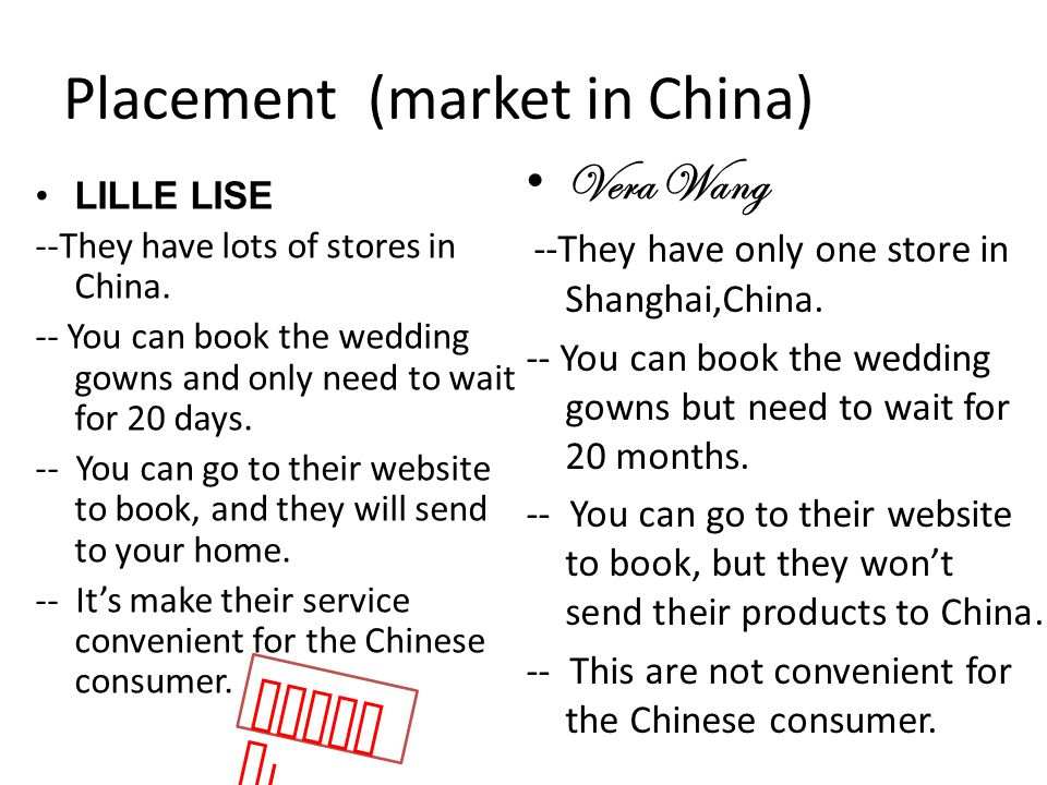 Placement (market in China) LILLE LISE --They have lots of stores in China.