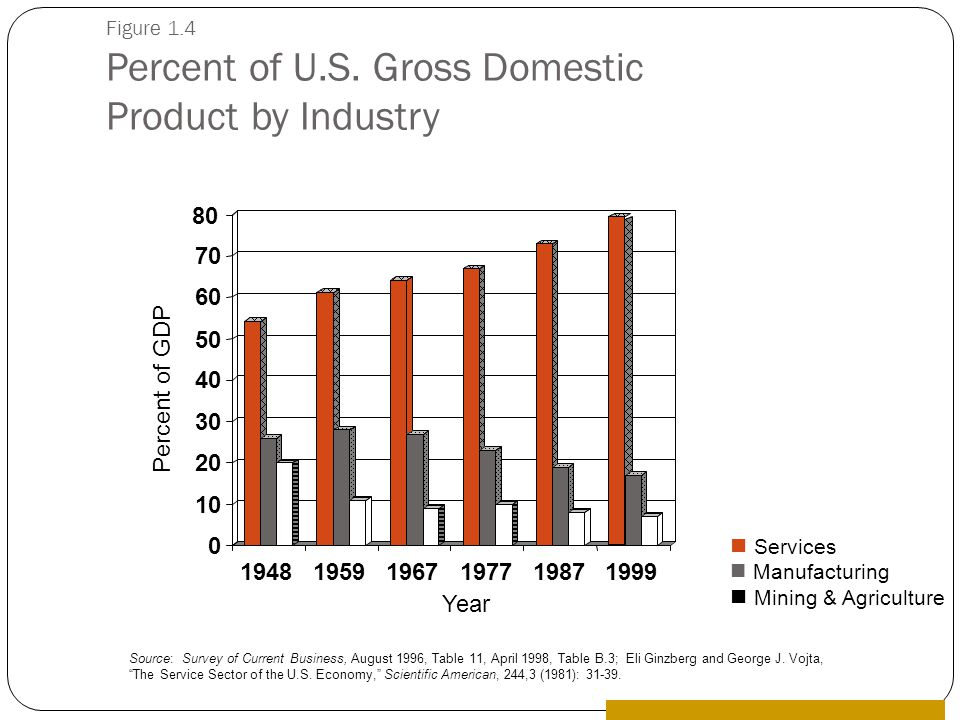 0 10 20 30 40 50 60 70 80 194819591967197719871999 Percent of GDP Year Source: Survey of Current Business, August 1996, Table 11, April 1998, Table B.