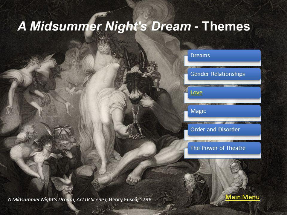 A Midsummer Night s Dream - Themes DreamsGender RelationshipsLoveMagicOrder and DisorderThe Power of Theatre A Midsummer Nights Dream, Act IV Scene I, Henry Fuseli, 1796 Main Menu Main Menu