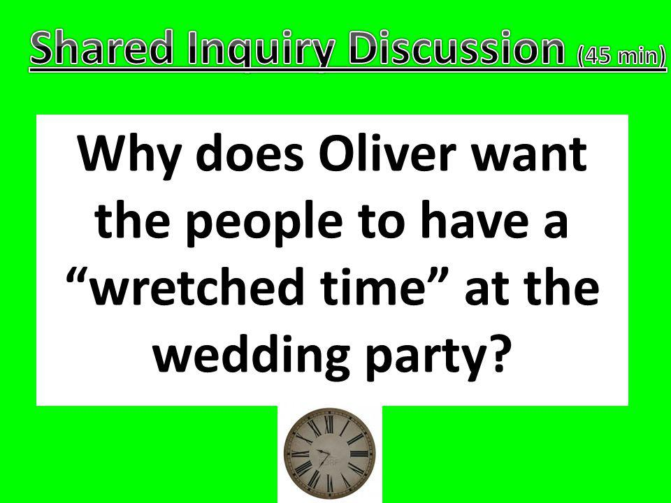 Why does Oliver feel that the townspeople have tricked him into playing at their party.