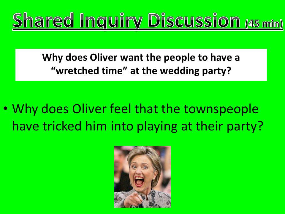 Why does Oliver keep his promise to play at the party, even though he feels tricked?