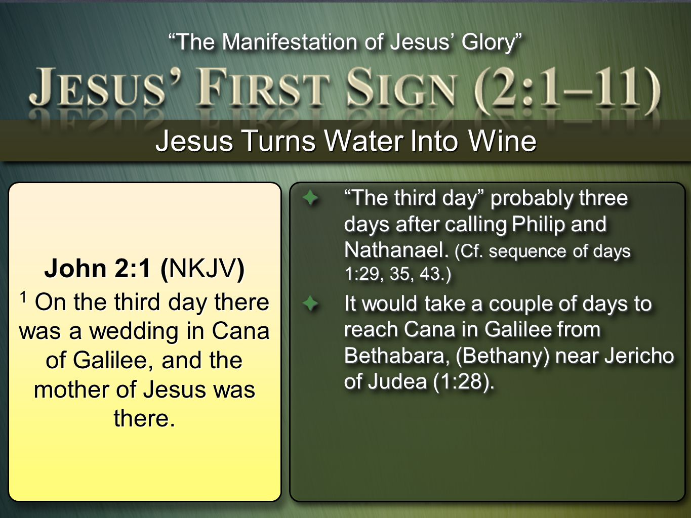 Jesus Turns Water Into Wine The third day probably three days after calling Philip and Nathanael. (Cf. sequence of days 1:29, 35, 43.)The third day pr