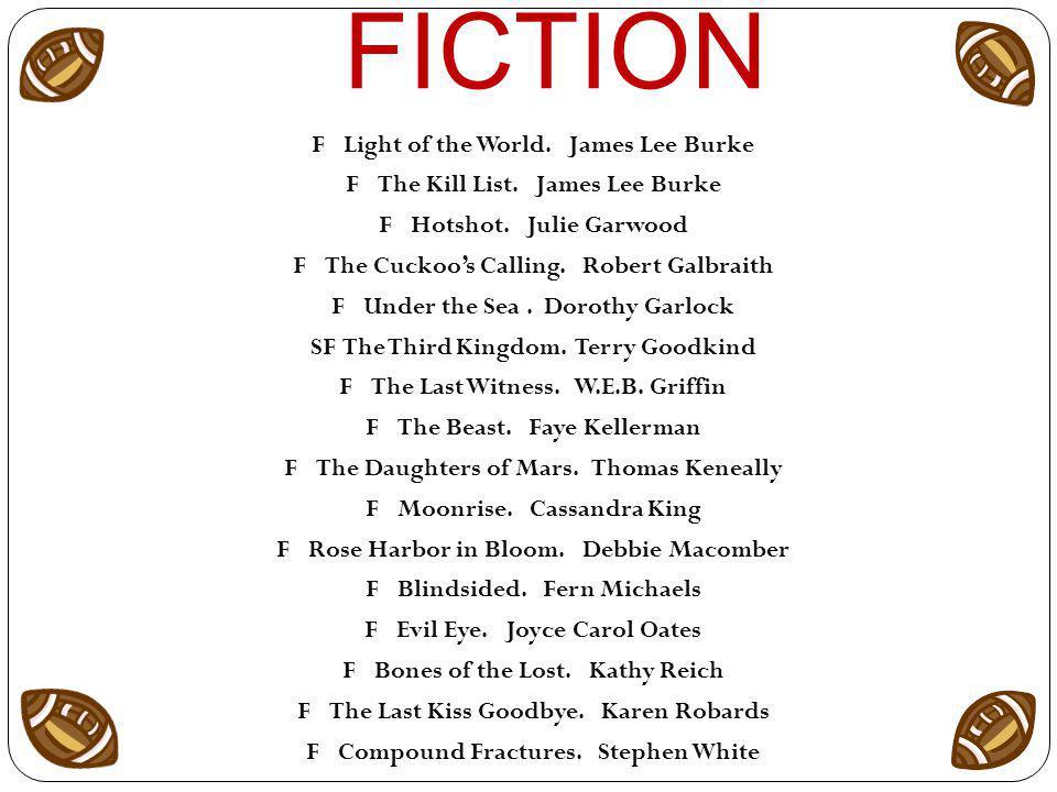 FICTION FLight of the World. James Lee Burke FThe Kill List.