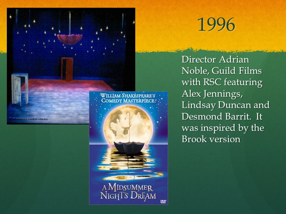 1996 Director Adrian Noble, Guild Films with RSC featuring Alex Jennings, Lindsay Duncan and Desmond Barrit.