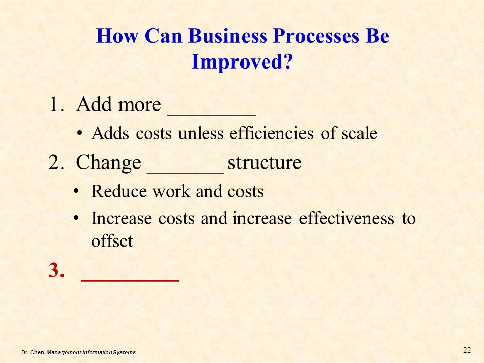 Dr.Chen, Management Information Systems How Can Business Processes Be Improved.