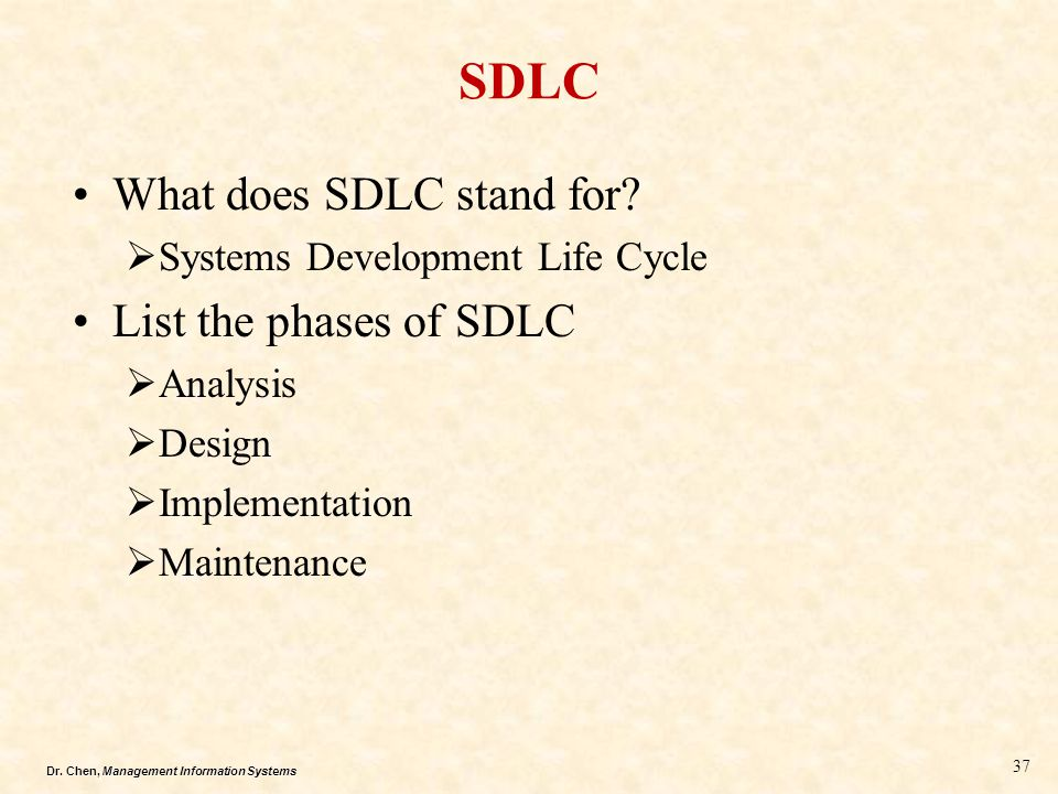 Dr.Chen, Management Information Systems SDLC What does SDLC stand for.