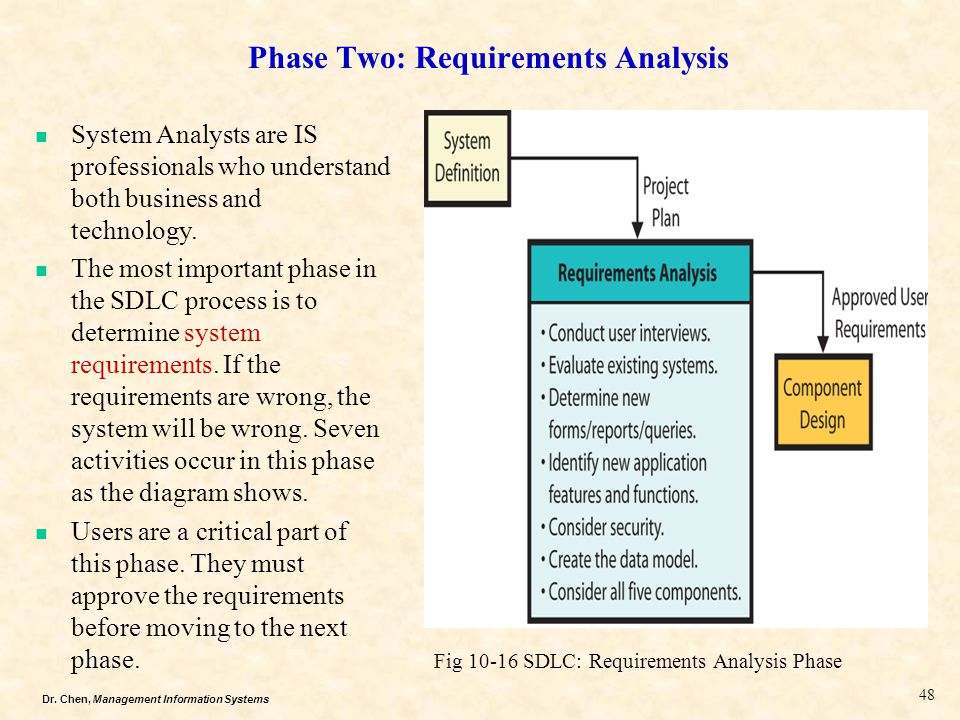 Dr. Chen, Management Information Systems Fig 10-16 SDLC: Requirements Analysis Phase System Analysts are IS professionals who understand both business