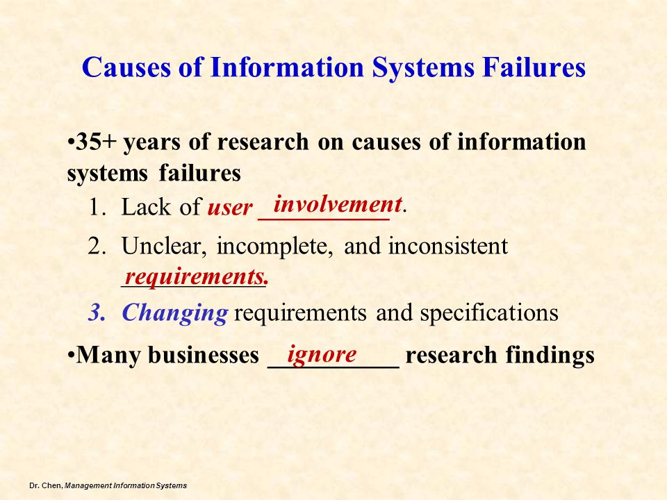 Dr. Chen, Management Information Systems Causes of Information Systems Failures 35+ years of research on causes of information systems failures 1.Lack