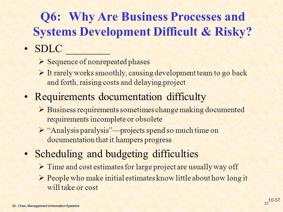 Dr. Chen, Management Information Systems 57 Q6:Why Are Business Processes and Systems Development Difficult & Risky? SDLC ________ Sequence of nonrepe