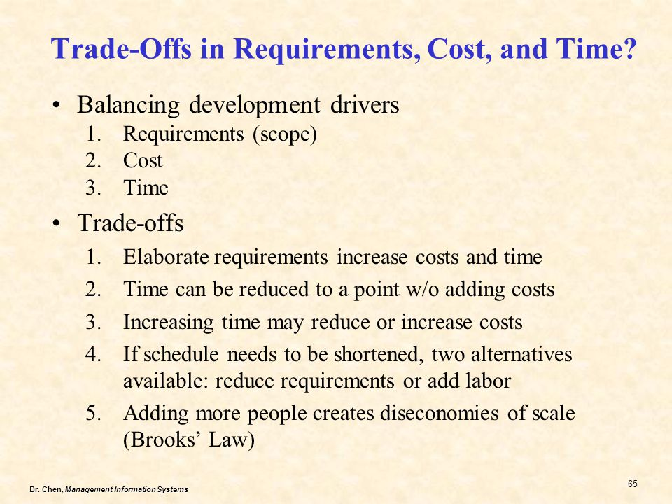 Dr.Chen, Management Information Systems 65 Trade-Offs in Requirements, Cost, and Time.