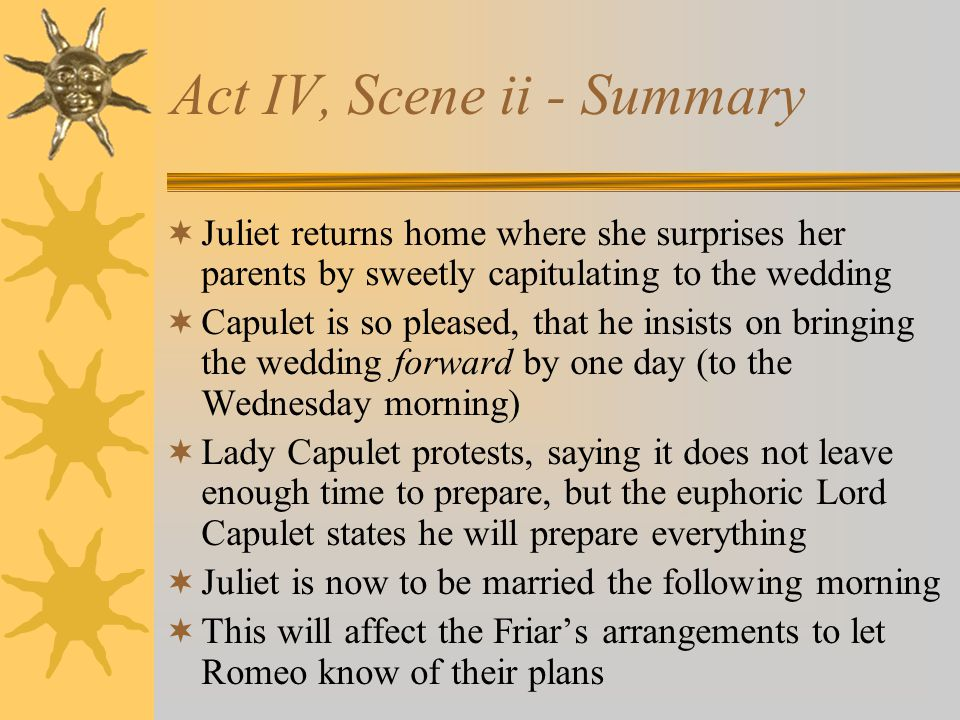 Act IV, Scene ii - Summary Juliet returns home where she surprises her parents by sweetly capitulating to the wedding Capulet is so pleased, that he i
