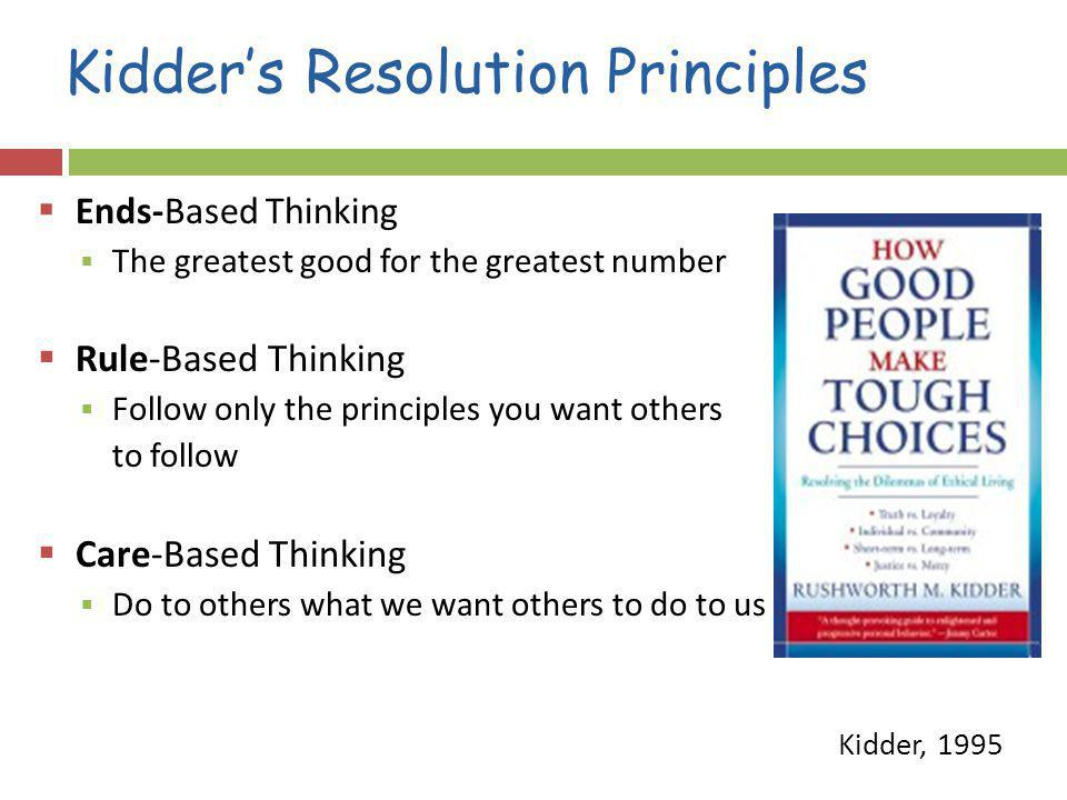 Kidders Resolution Principles Ends-Based Thinking The greatest good for the greatest number Rule-Based Thinking Follow only the principles you want others to follow Care-Based Thinking Do to others what we want others to do to us Kidder, 1995