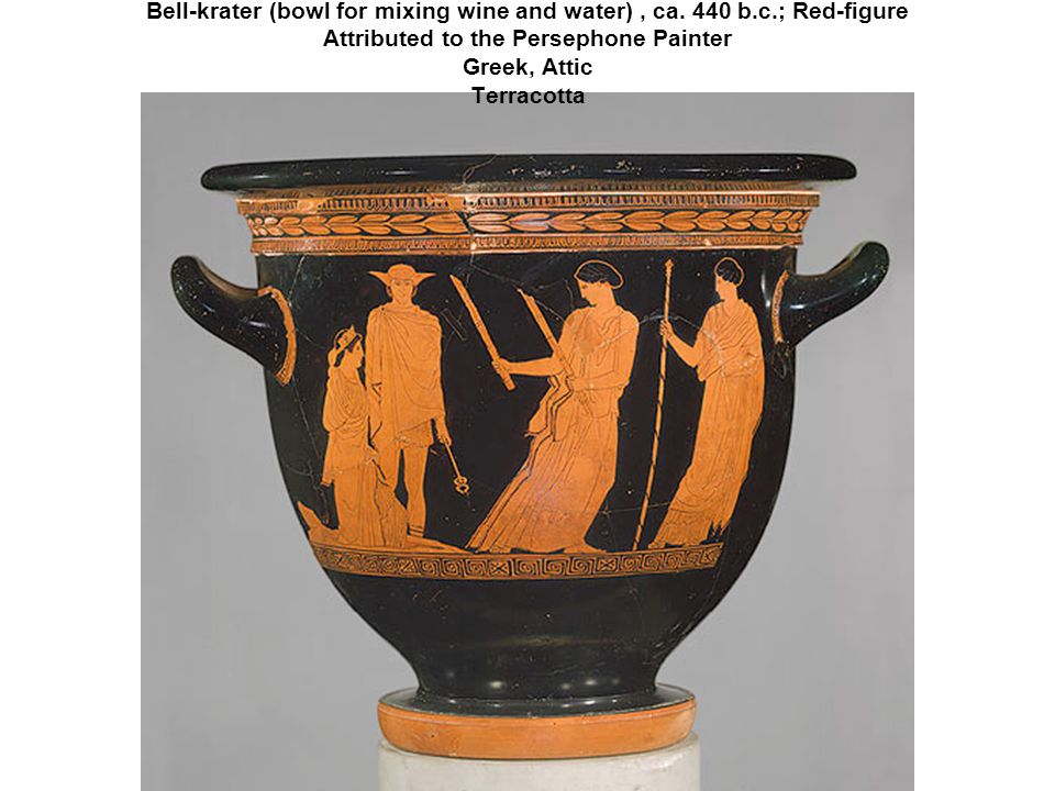 This vessel, known as a bell-krater, was used for mixing wine and water at the Greek symposium.