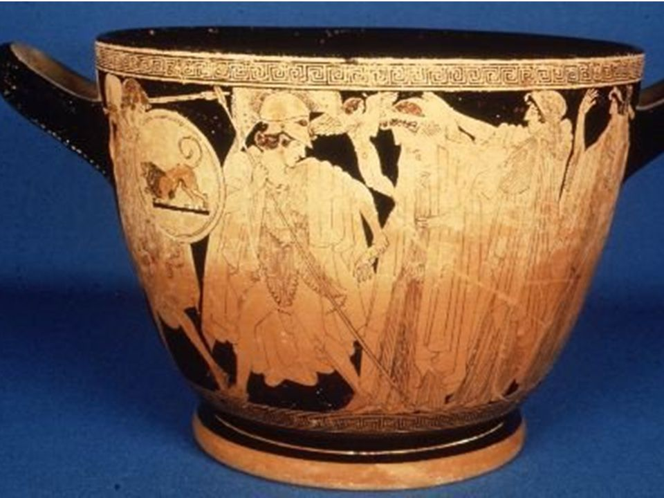 Attic Red-Figure Skyphos This skyphos, signed by the potter Hieron and attributed to Macron by J.D.