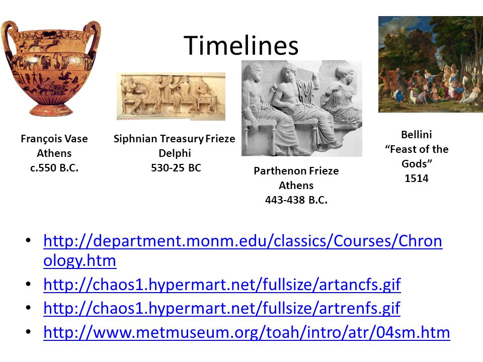 Timelines http://department.monm.edu/classics/Courses/Chron ology.htm http://department.monm.edu/classics/Courses/Chron ology.htm http://chaos1.hypermart.net/fullsize/artancfs.gif http://chaos1.hypermart.net/fullsize/artrenfs.gif http://www.metmuseum.org/toah/intro/atr/04sm.htm Siphnian Treasury Frieze Delphi 530-25 BC François Vase Athens c.550 B.C.