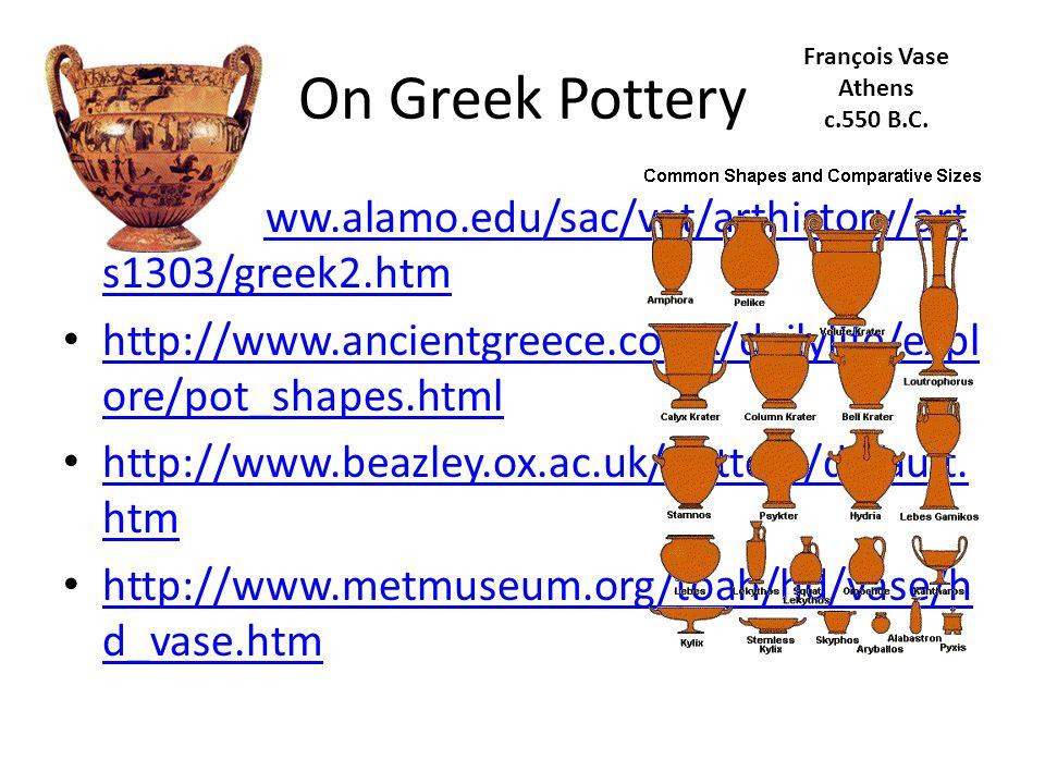 On Greek Pottery http://www.alamo.edu/sac/vat/arthistory/art s1303/greek2.htm http://www.alamo.edu/sac/vat/arthistory/art s1303/greek2.htm http://www.ancientgreece.co.uk/dailylife/expl ore/pot_shapes.html http://www.ancientgreece.co.uk/dailylife/expl ore/pot_shapes.html http://www.beazley.ox.ac.uk/pottery/default.