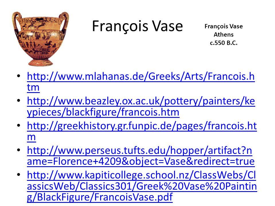 François Vase http://www.mlahanas.de/Greeks/Arts/Francois.h tm http://www.mlahanas.de/Greeks/Arts/Francois.h tm http://www.beazley.ox.ac.uk/pottery/painters/ke ypieces/blackfigure/francois.htm http://www.beazley.ox.ac.uk/pottery/painters/ke ypieces/blackfigure/francois.htm http://greekhistory.gr.funpic.de/pages/francois.ht m http://greekhistory.gr.funpic.de/pages/francois.ht m http://www.perseus.tufts.edu/hopper/artifact n ame=Florence+4209&object=Vase&redirect=true http://www.perseus.tufts.edu/hopper/artifact n ame=Florence+4209&object=Vase&redirect=true http://www.kapiticollege.school.nz/ClassWebs/Cl assicsWeb/Classics301/Greek%20Vase%20Paintin g/BlackFigure/FrancoisVase.pdf http://www.kapiticollege.school.nz/ClassWebs/Cl assicsWeb/Classics301/Greek%20Vase%20Paintin g/BlackFigure/FrancoisVase.pdf François Vase Athens c.550 B.C.