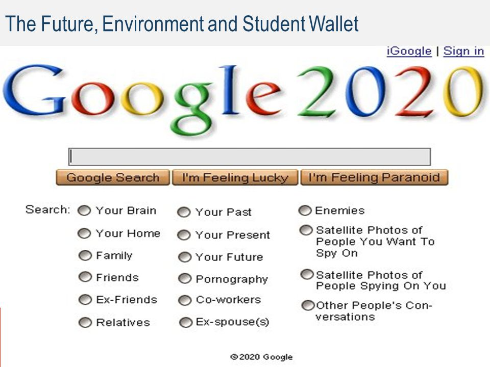 The Future, Environment and Student Wallet