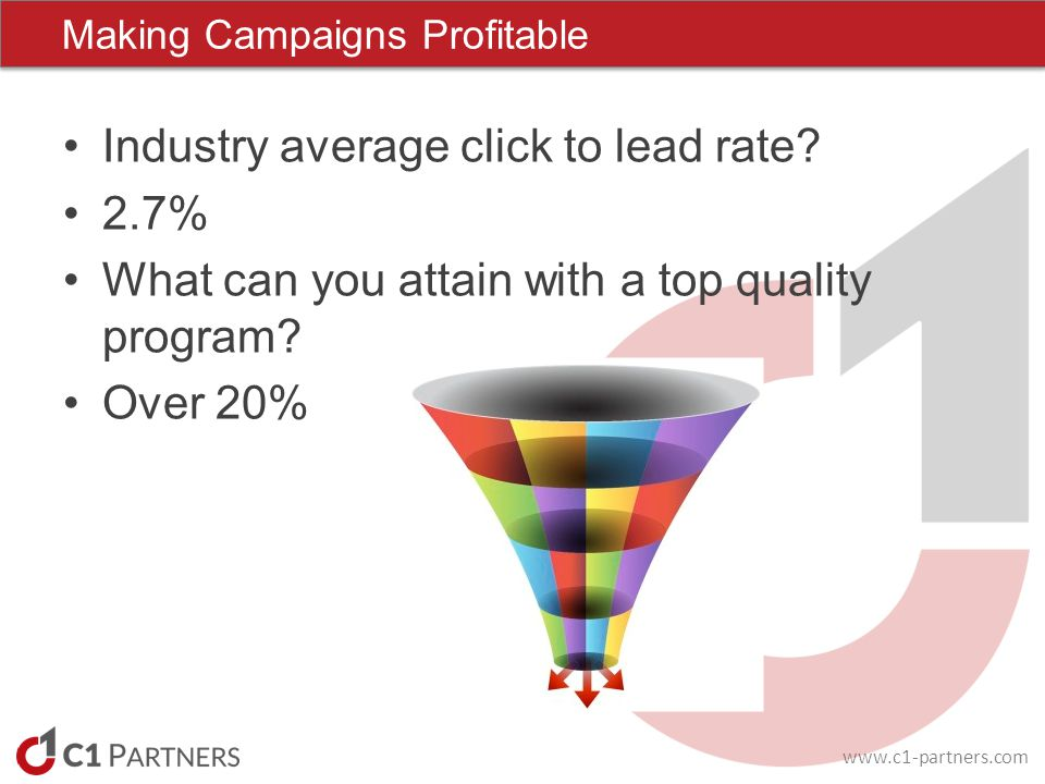 www.c1-partners.com Industry average click to lead rate.