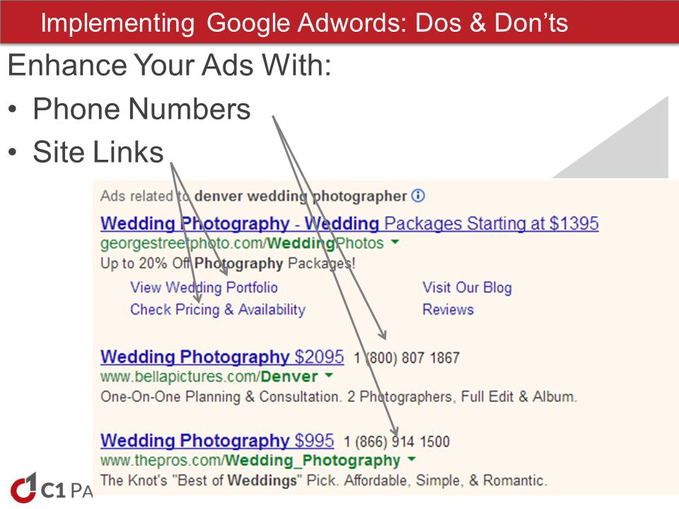 www.c1-partners.com Enhance Your Ads With: Phone Numbers Site Links Implementing Google Adwords: Dos & Donts