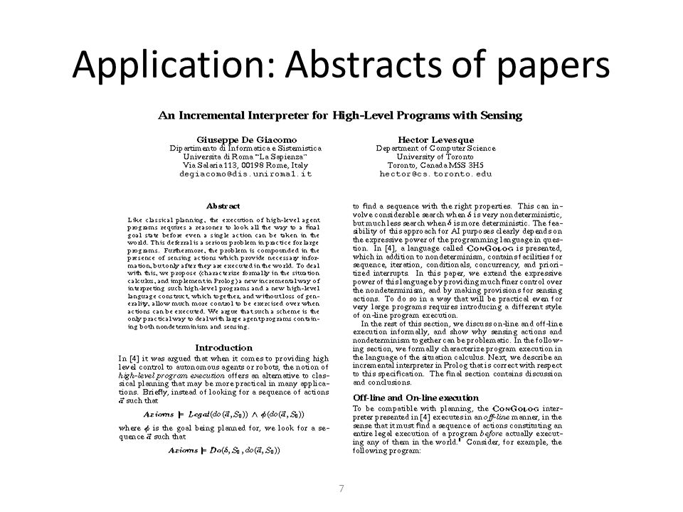 7 Application: Abstracts of papers