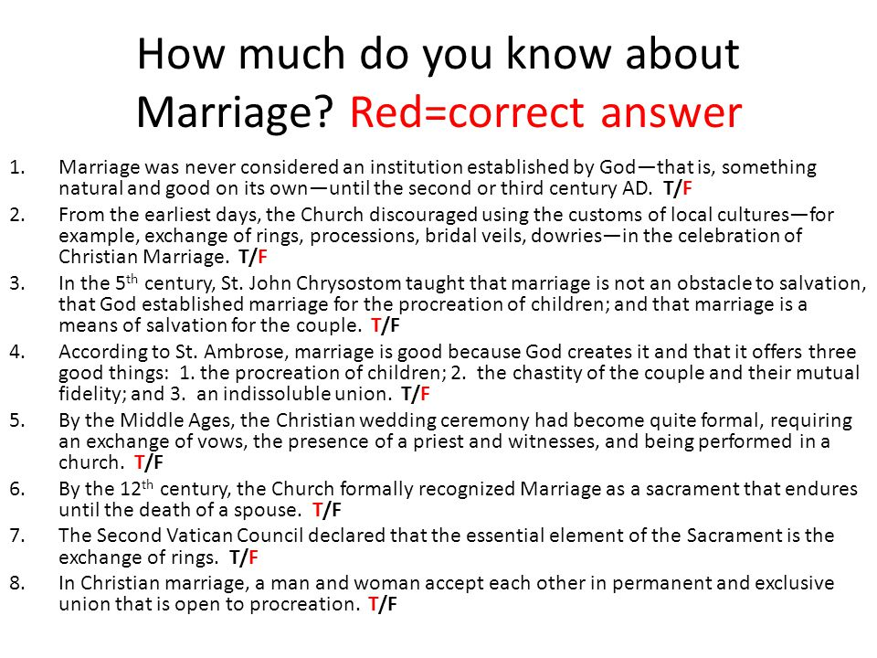 How much do you know about Marriage.