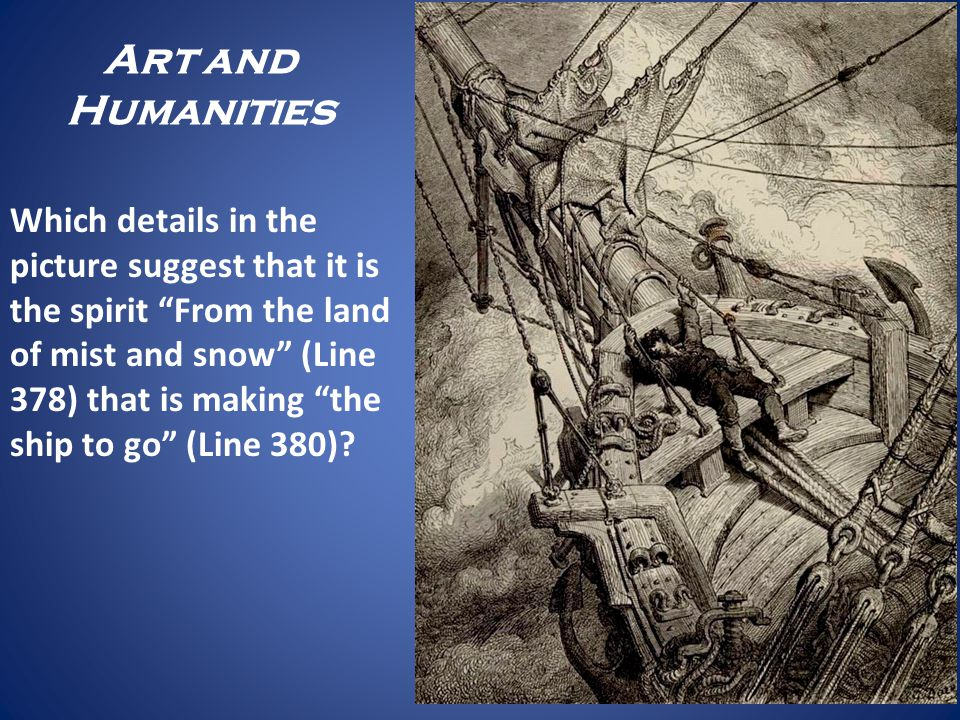 Art and Humanities Which details in the picture suggest that it is the spirit From the land of mist and snow (Line 378) that is making the ship to go