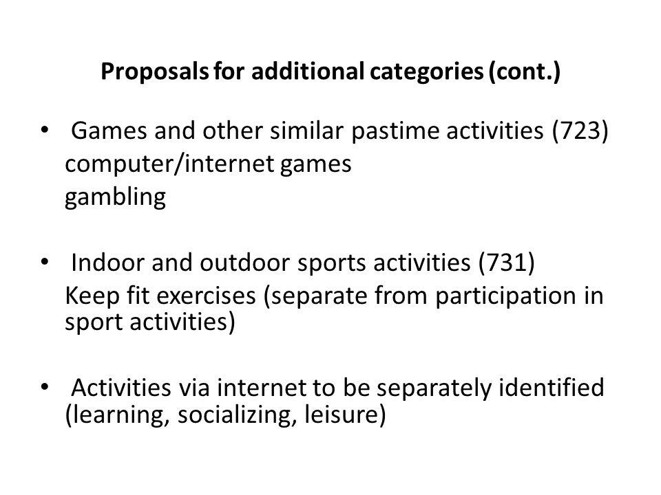 Proposals for additional categories (cont.) Games and other similar pastime activities (723) computer/internet games gambling Indoor and outdoor sports activities (731) Keep fit exercises (separate from participation in sport activities) Activities via internet to be separately identified (learning, socializing, leisure)