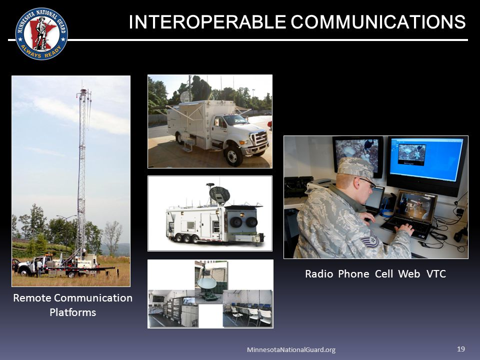 MinnesotaNationalGuard.org 19 INTEROPERABLE COMMUNICATIONS Remote Communication Platforms Radio Phone Cell Web VTC