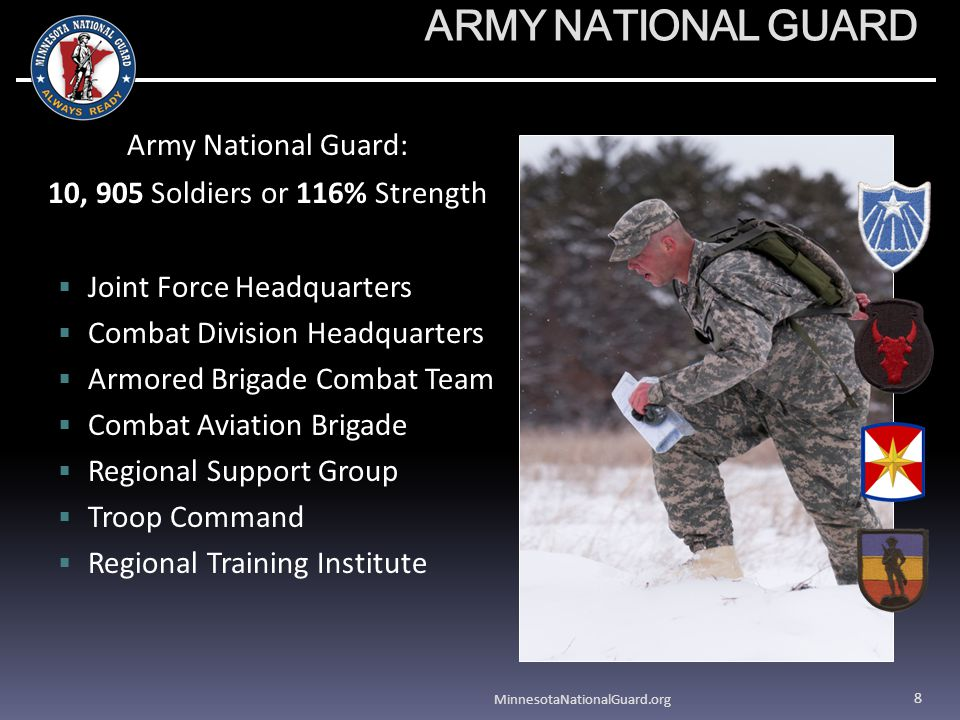 ARMY NATIONAL GUARD Army National Guard: 10, 905 Soldiers or 116% Strength Joint Force Headquarters Combat Division Headquarters Armored Brigade Combat Team Combat Aviation Brigade Regional Support Group Troop Command Regional Training Institute MinnesotaNationalGuard.org 8