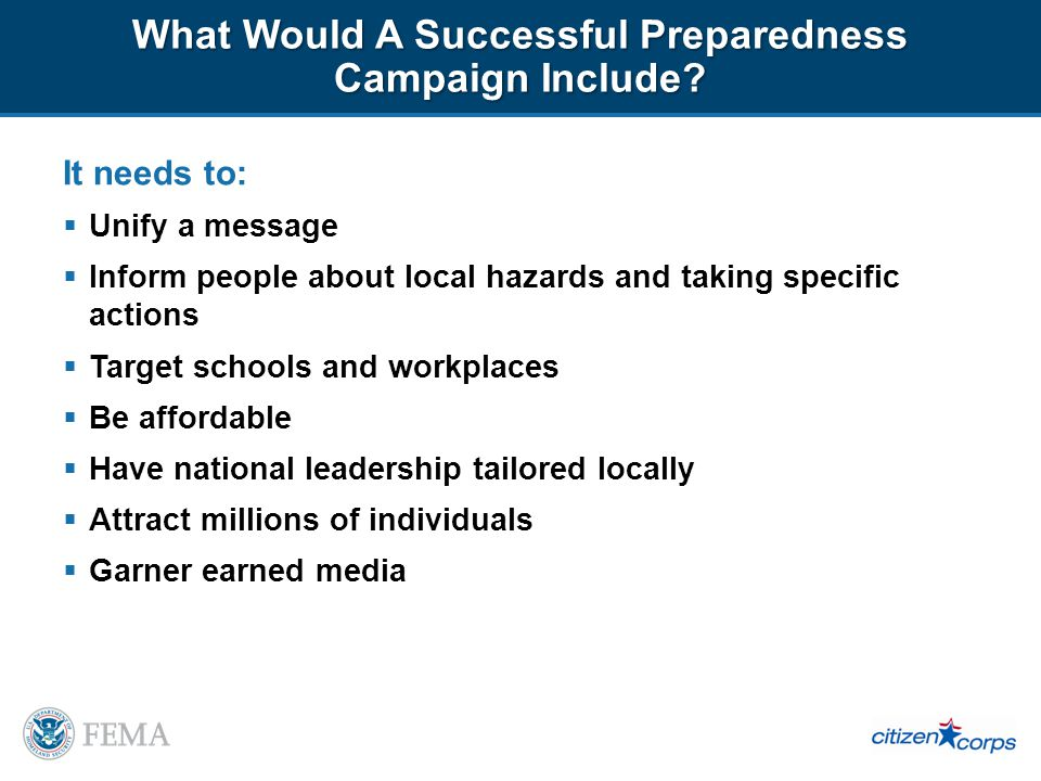What Would A Successful Preparedness Campaign Include.